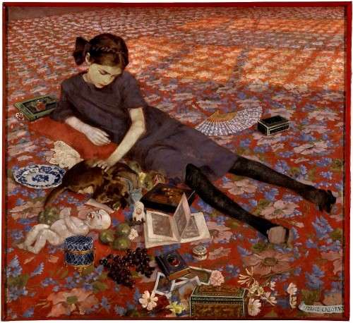 "Felice Casorati ""Girl on a red carpet"" 1912"